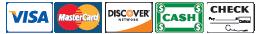 We Accept Visa, Mastercard, Discover, Cash, and Check